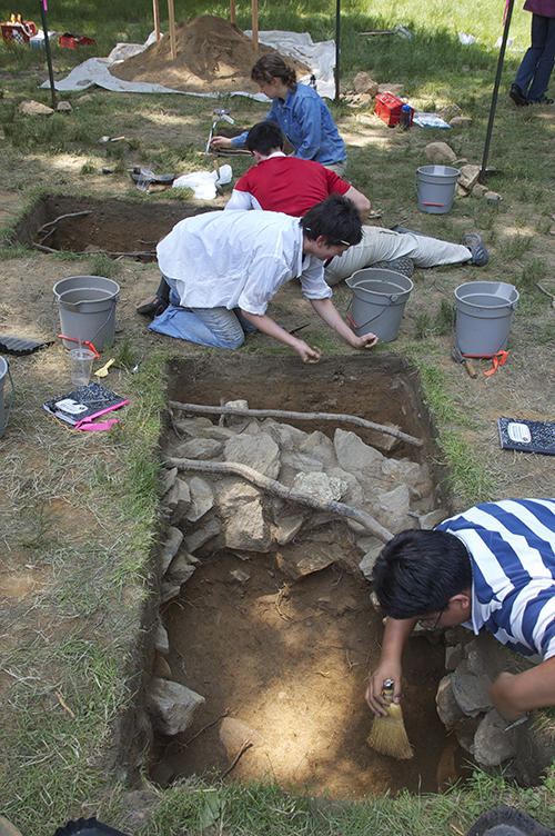 Students working at the Seneca Village site in Central Park.