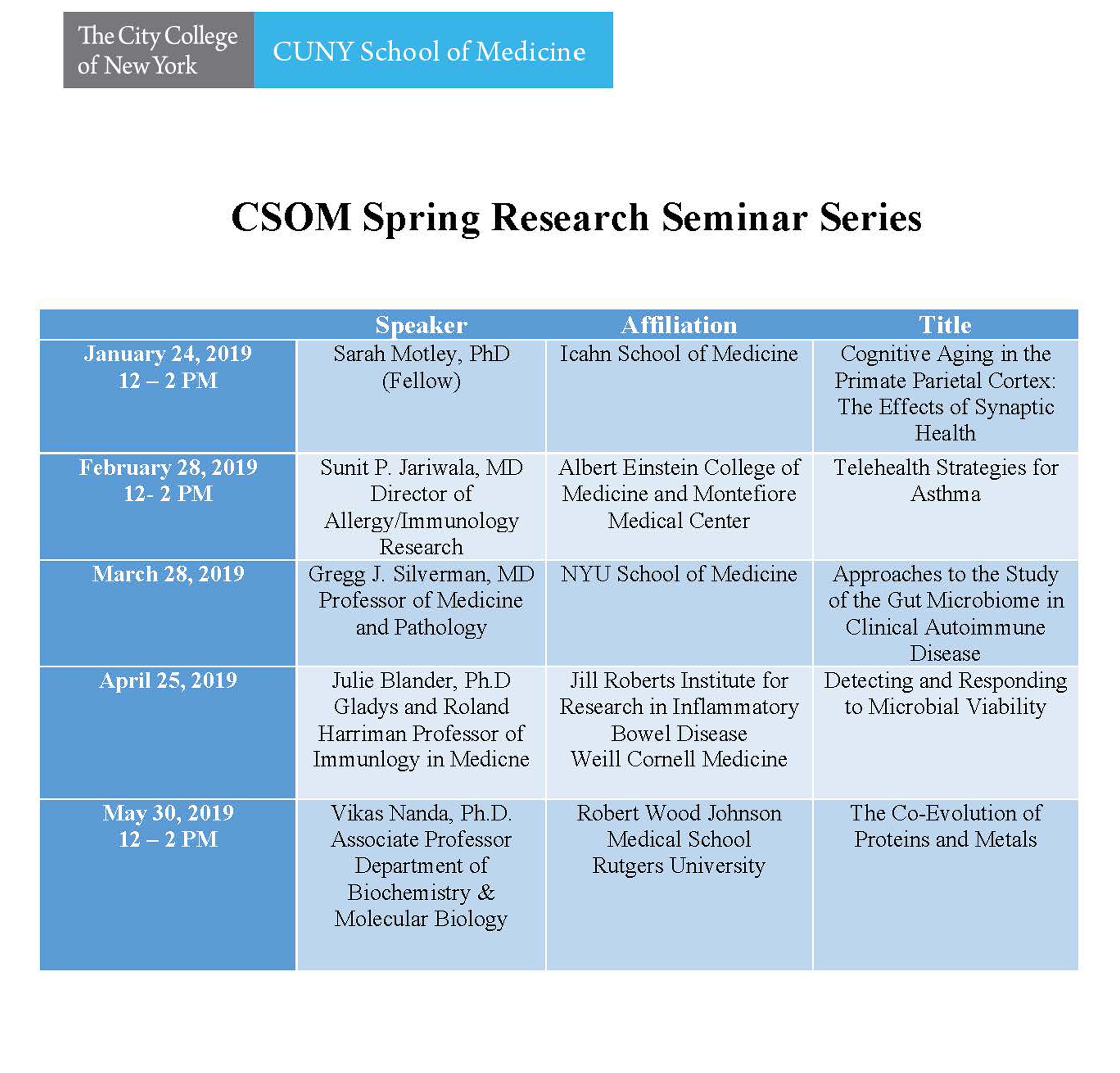 CSOM Spring Research Seminar Series  - Click Image for Screen Readable Schedule