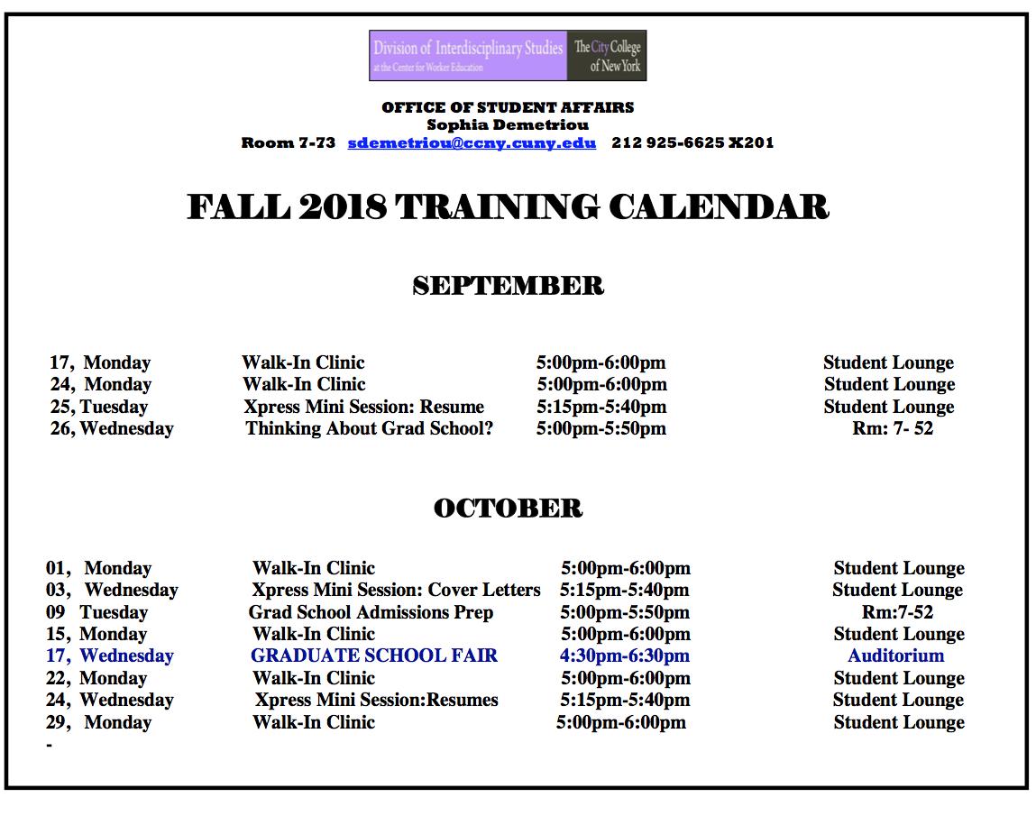 Fall 2018 Training Calendar