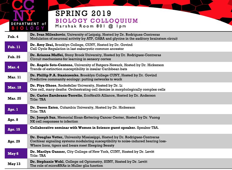 Spring 19 Bio Seminars