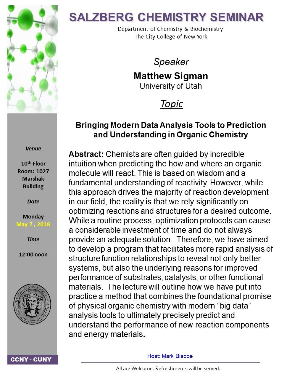 Salzberg Chemistry Seminar - Sigman