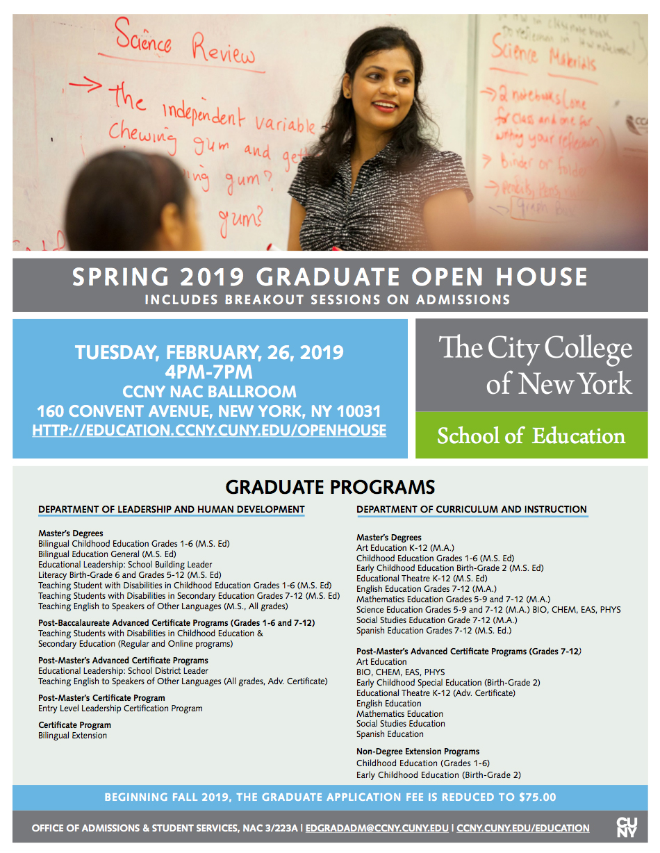 Ccny Academic Calendar Spring 2019 School of Education Spring 2019 Graduate Open House | The City
