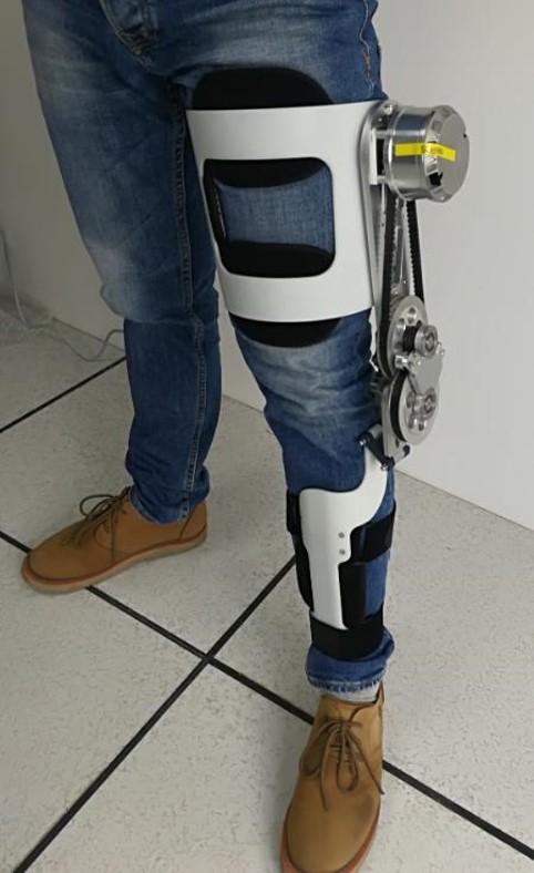 Photo of the soft knee exoskeleton