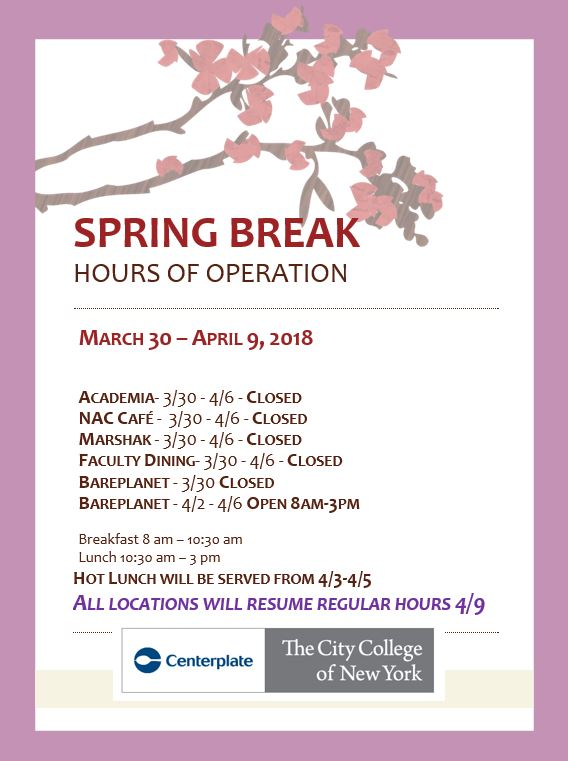 Spring break 2018 dining services hours March 30-April 9 have been adjusted. All dining areas will be closed during this time except Bare Planet.  Bare Planet will be open from April 2 - April 6 from 8 AM to 3PM. All regular hours will resume April 9.