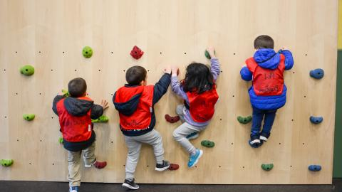 Toddler rock climbing activity an example of what is available at CCNY Child Development Center