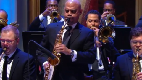 Associate Professor Steve Wilson performing a solo during the Ray Charles Tribue at The White House