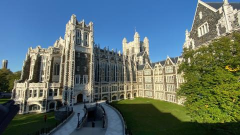 CCNY's Shepard Hall exterior on early fall day