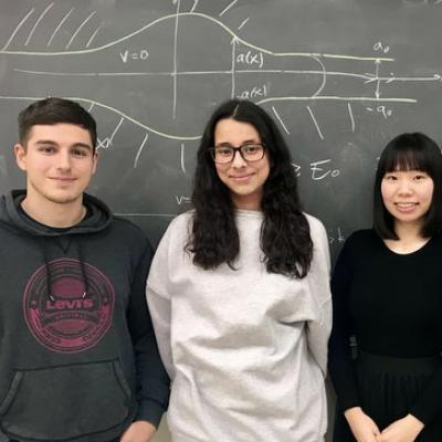 Faculty advisor Sebastian Franco and his CCNY Society of Physics Students chapter members [from left]: Mike Gaziani, Jireh Garcia, Lisa Chan and Matthew Kubikowski.