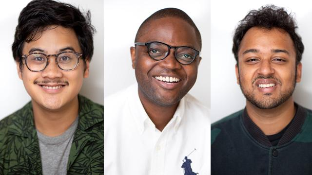 Paul Bernabe, Dimandja Utshudi and Ayush Kumar, from CCNY's BIC program, are winners of The LAGRANT Foundation scholarship.
