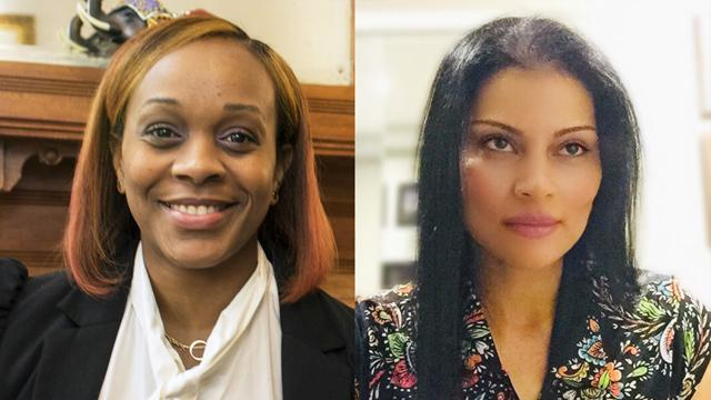 CCNY's Michelle Caines [left] and Sheila Castillo are Women's Forum Education fellowship winners.