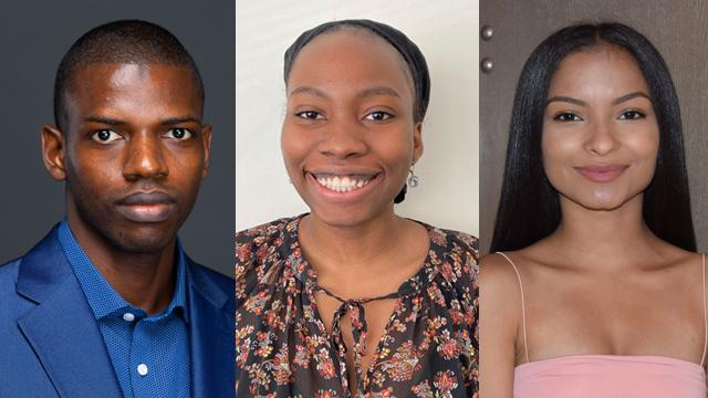 CCNY's 2020 ABRCMS winners (from left) Alpha Amadou Bah, Arielle Brutus and Taisha Gomez.