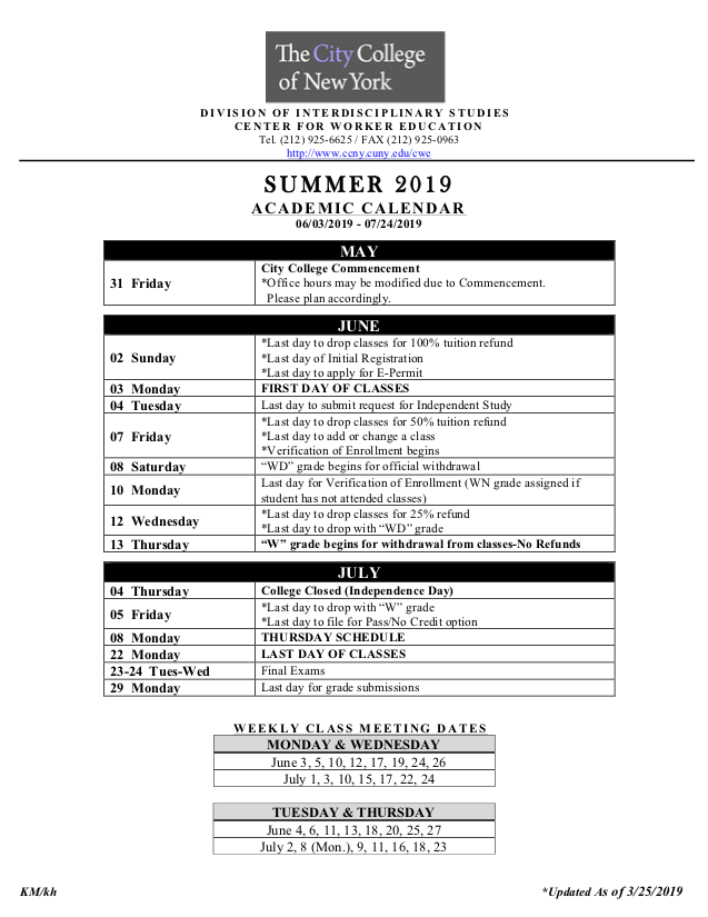 Ccny Academic Calendar Spring 2019 Academic Calendars | The City College of New York