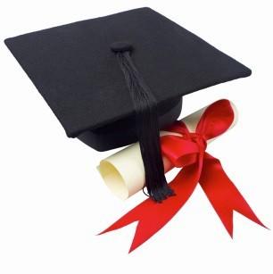 A cap, a tassel and a diploma