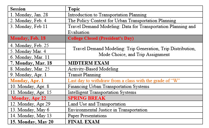 image shows Urban Transportation schedule of session topics. Date, topic, and any assignments are given for each week.