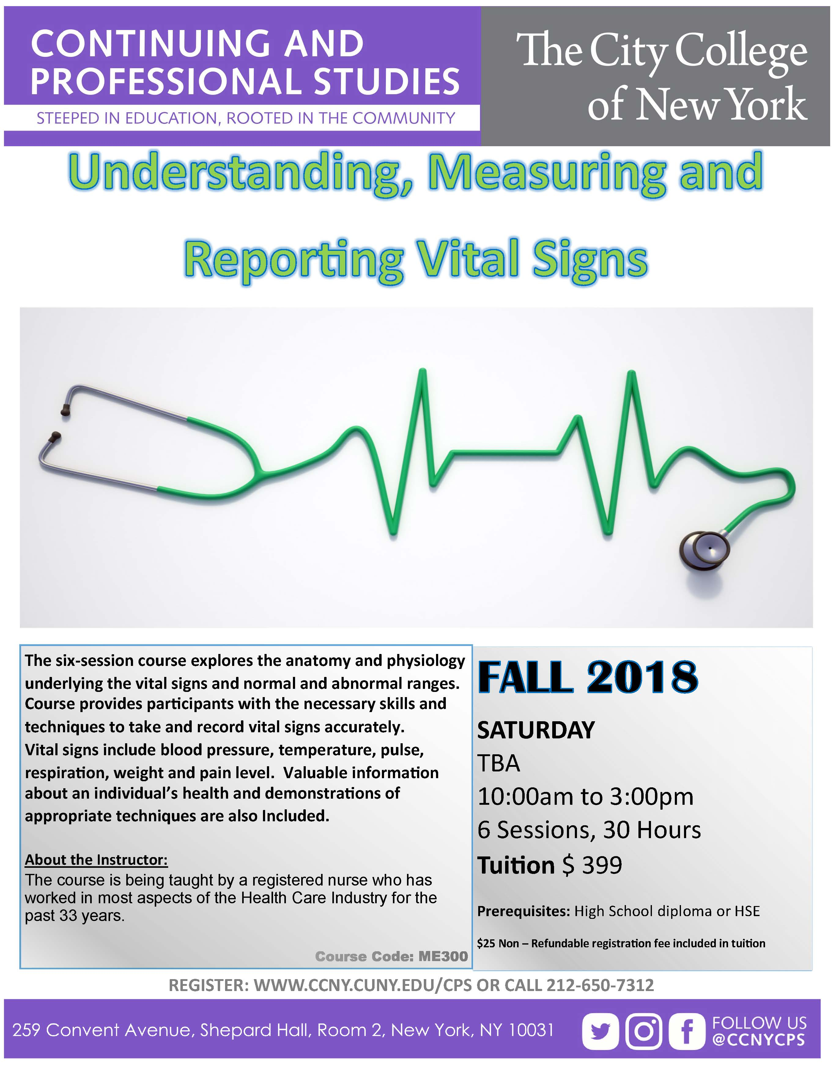 Reporting Vital Signs Fall 2018